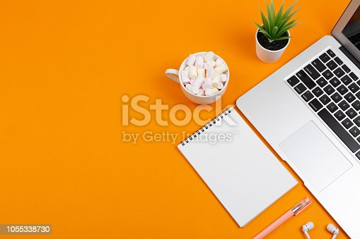 istock Laptop, plant, notepad and earphones 1055338730