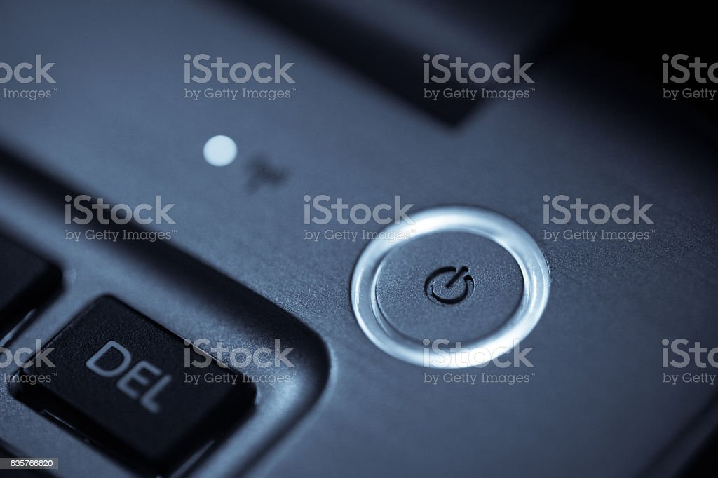 Laptop power button stock photo
