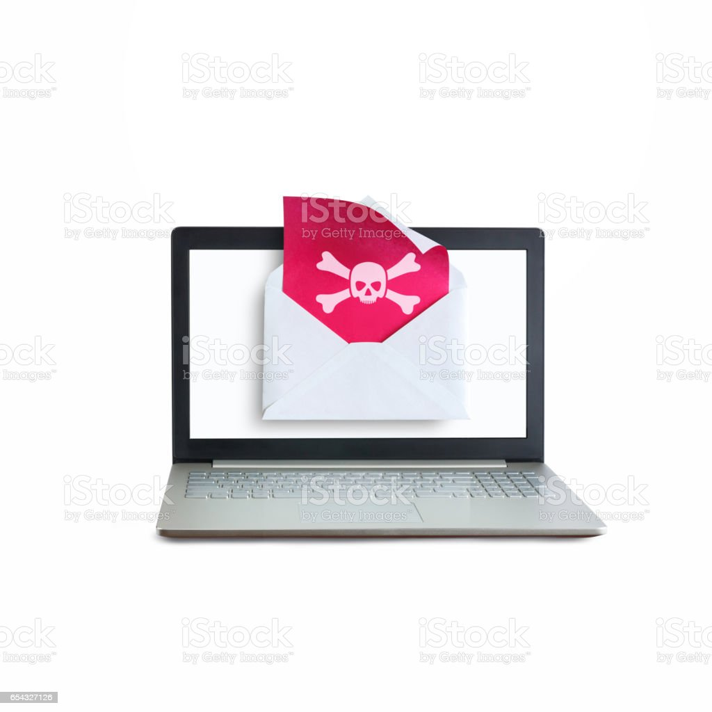 Laptop received a letter with a virus. stock photo