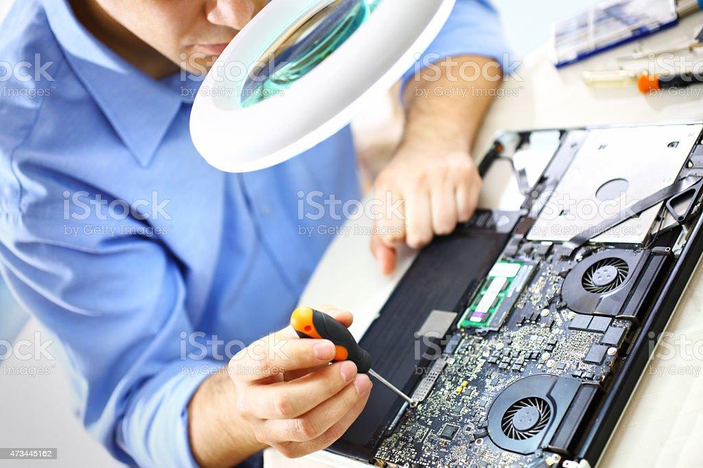 Laptop repair. stock photo