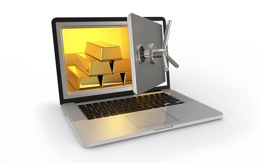 Laptop safe with gold bars isolated on white background 3D rendering