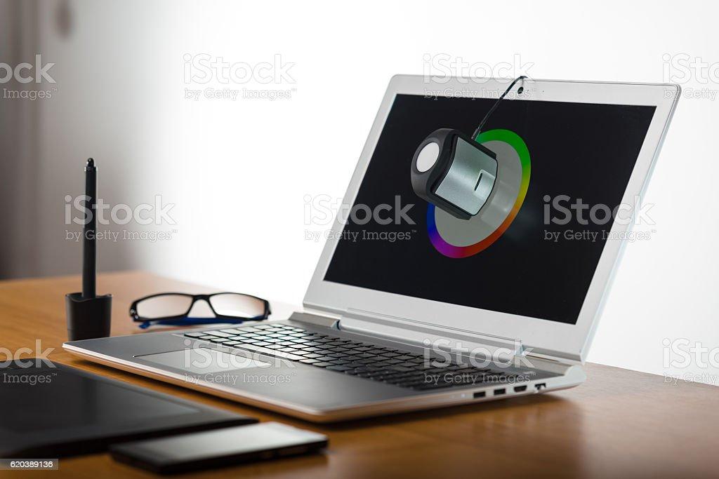 Laptop screen calibtation stock photo