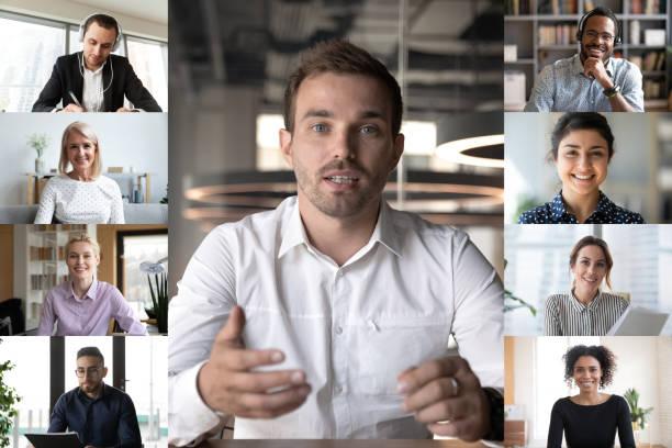 Laptop-Bildschirm ansicht Freunde mit Webcam-Kommunikation durch Videokonferenz-App – Foto