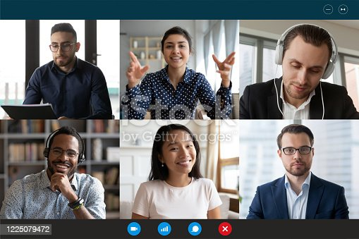 Team working by group video call share ideas brainstorming negotiating use video conference, pc screen view six multi ethnic young people, application advertisement easy and comfortable usage concept