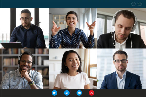 Laptop screen view six multiethnic people involved in group videocall stock photo