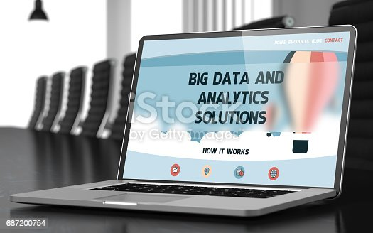 istock Laptop Screen with Big Data And Analytics Solutions. 3D 687200754