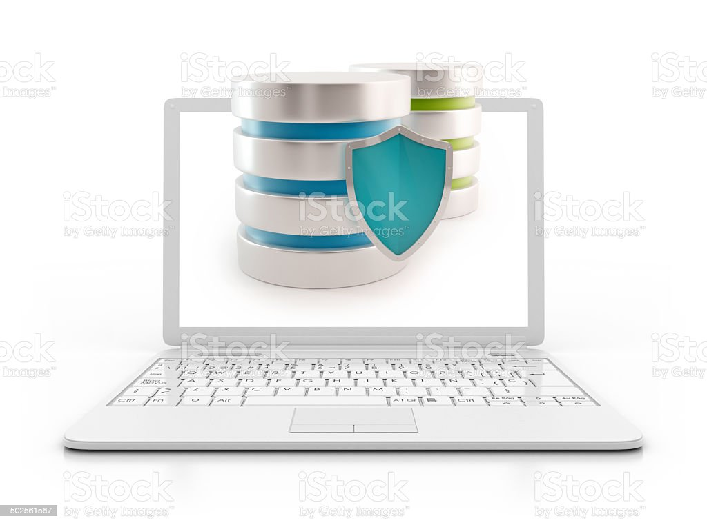Laptop - Server with shield, data base concept stock photo