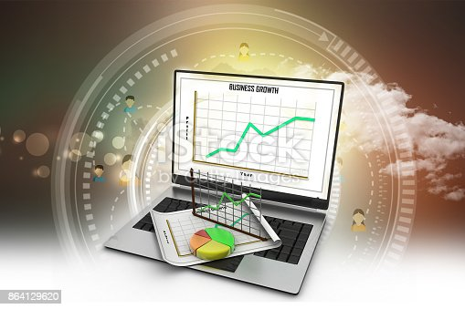 istock Laptop showing a spreadsheet and a paper with statistic charts 864129620