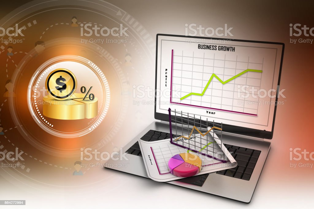 Laptop showing a spreadsheet and a paper with statistic charts royalty-free stock photo