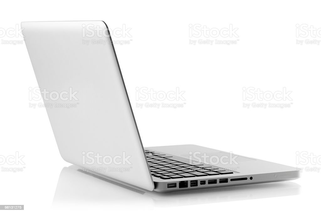 Laptop sitting open on a white background royalty-free stock photo