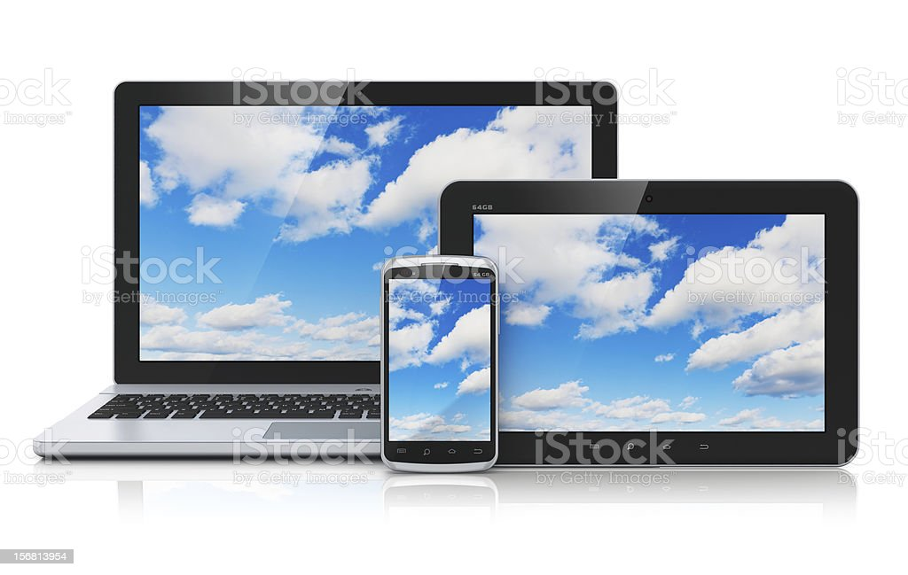 Laptop, smart phone and tablet with cloud computing concept stock photo