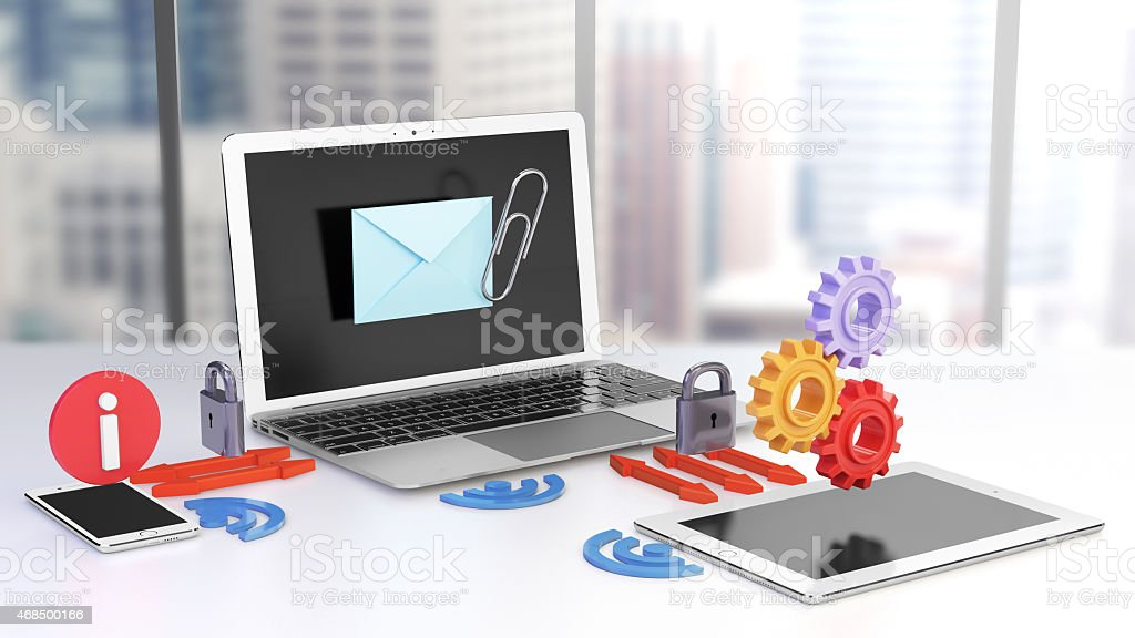 Laptop, smartphone and tablet sharing data stock photo