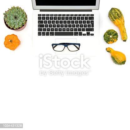 istock Laptop succulent autumn pumpkin Office workplace Flat lay 1034431328