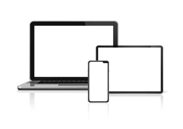 Laptop, tablet and phone set mockup isolated on white. 3D render stock photo