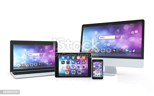 istock laptop, tablet, desktop, smartphone, app screen 493860030