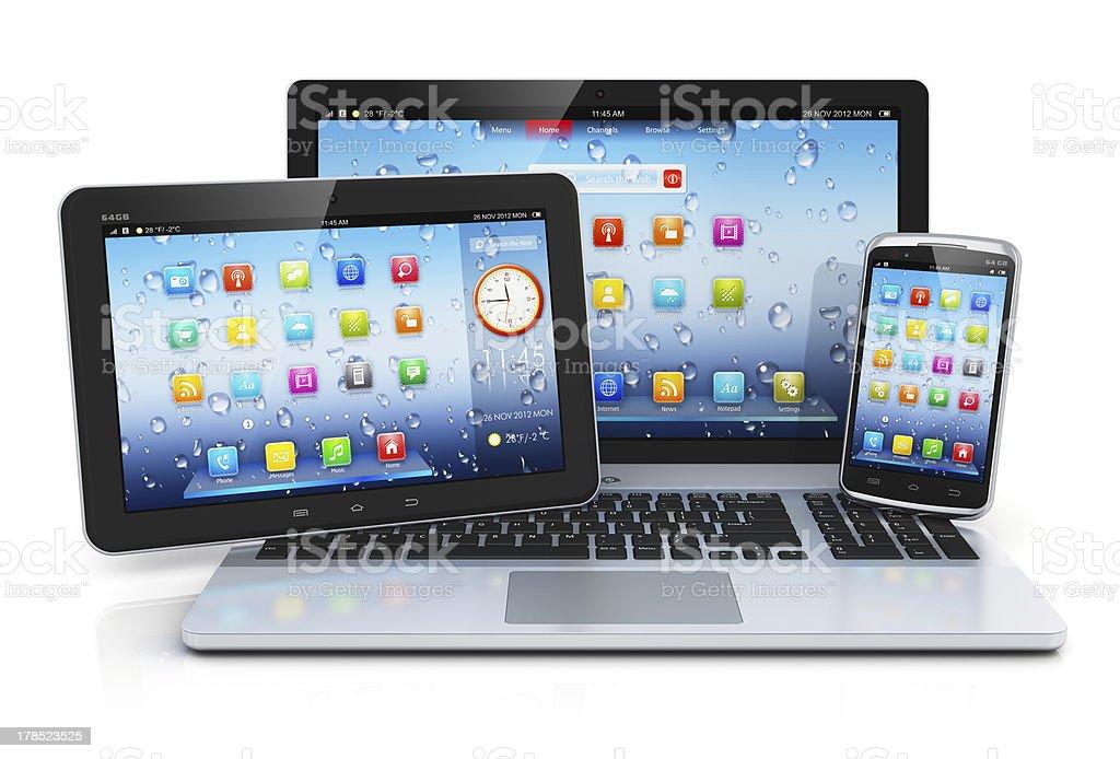 Computador portátil, tablet PC e smartphone - foto de acervo