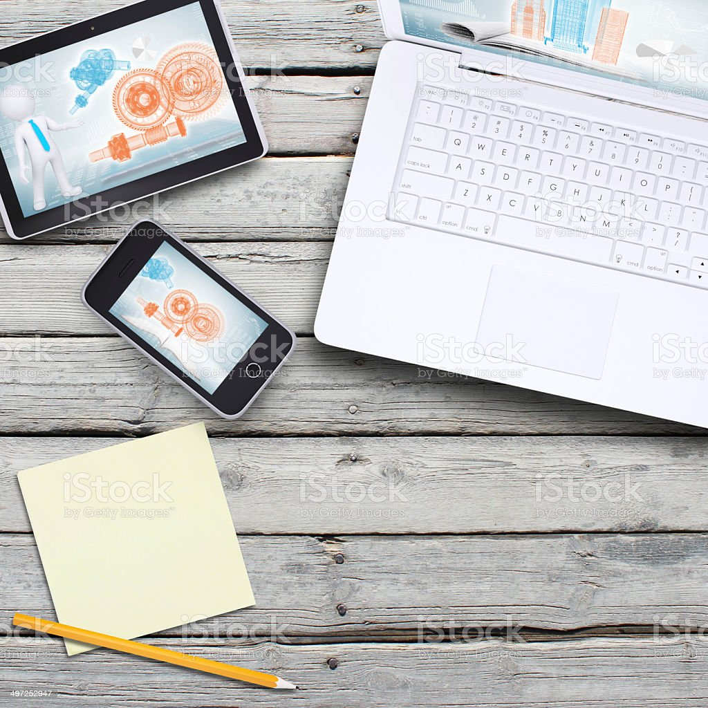Laptop, tablet pc and smartphone stock photo
