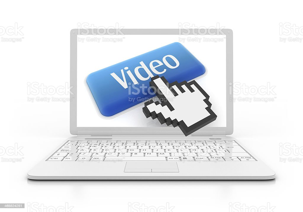 3D Laptop - video button with hand cursor royalty-free stock photo