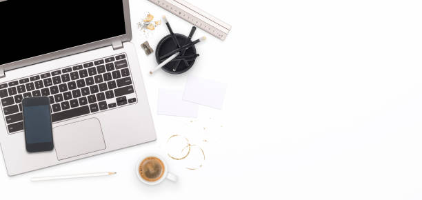 laptop web design mockup header Top view corporate and web design laptop mock up web header with copy space messy home office stock pictures, royalty-free photos & images