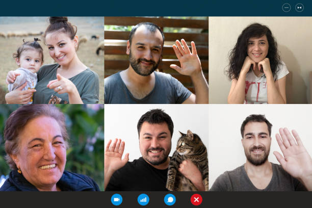 Laptop webcam screen view multiethnic families contacting distantly by video conference. Living abroad four diverse friends making video call enjoy communication, virtual interaction modern app concept stock photo