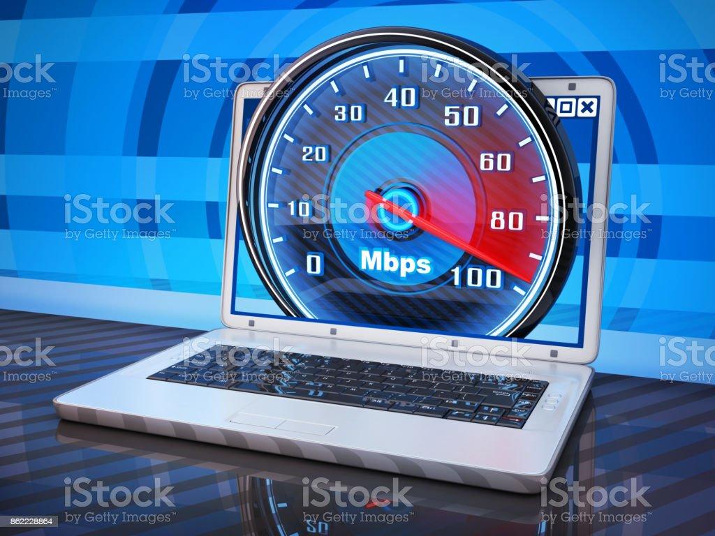 Laptop white and internet speed stock photo