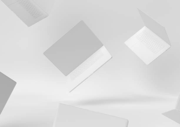 ordinateur de bureau blanc conception création papier espace de travail desktop concept minimal 3d render, illustration 3d. - monochrome image teintée photos et images de collection