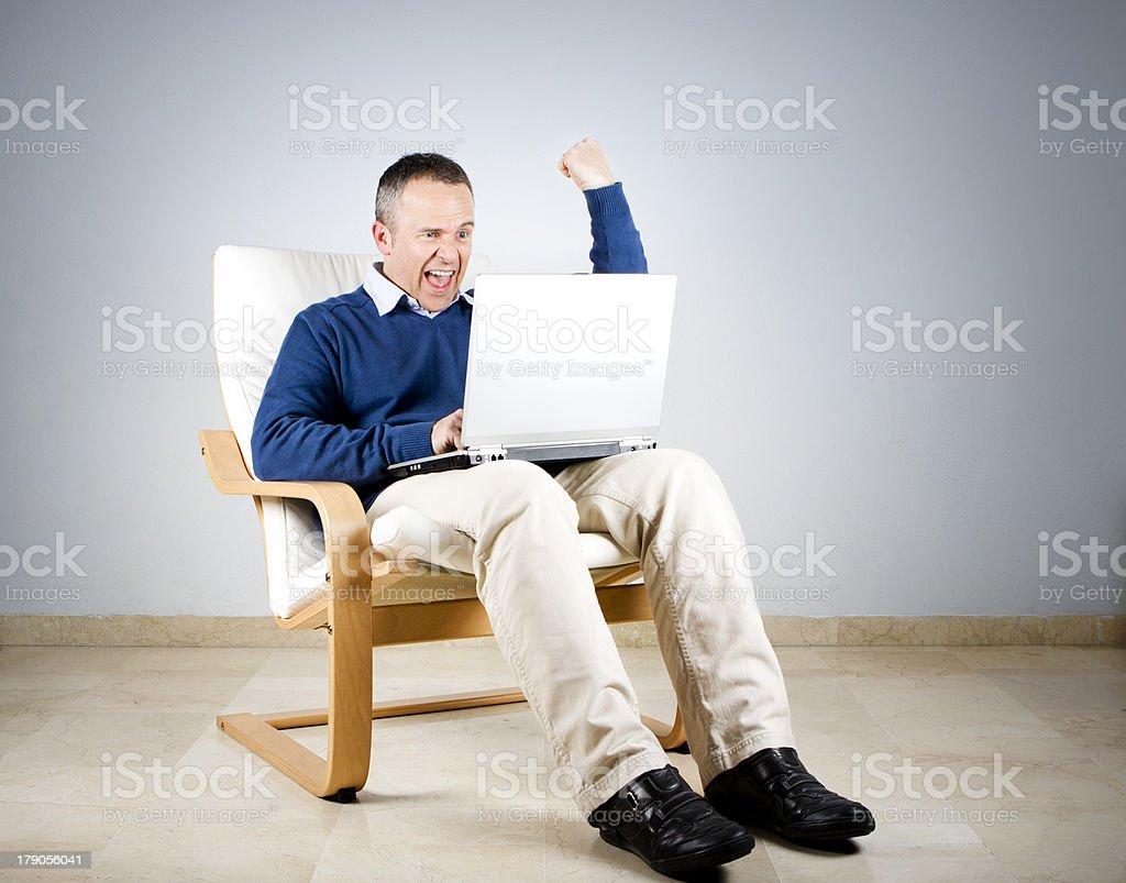 Laptop Winner stock photo