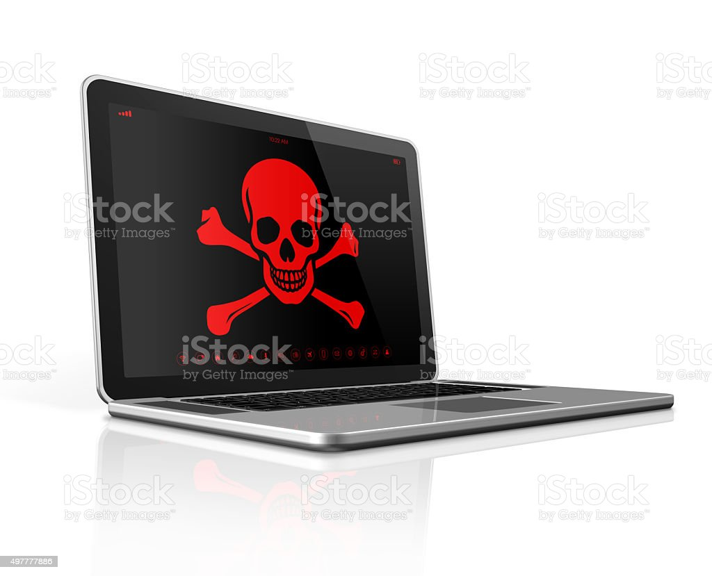 Laptop with a pirate symbol on screen. Hacker concept stock photo