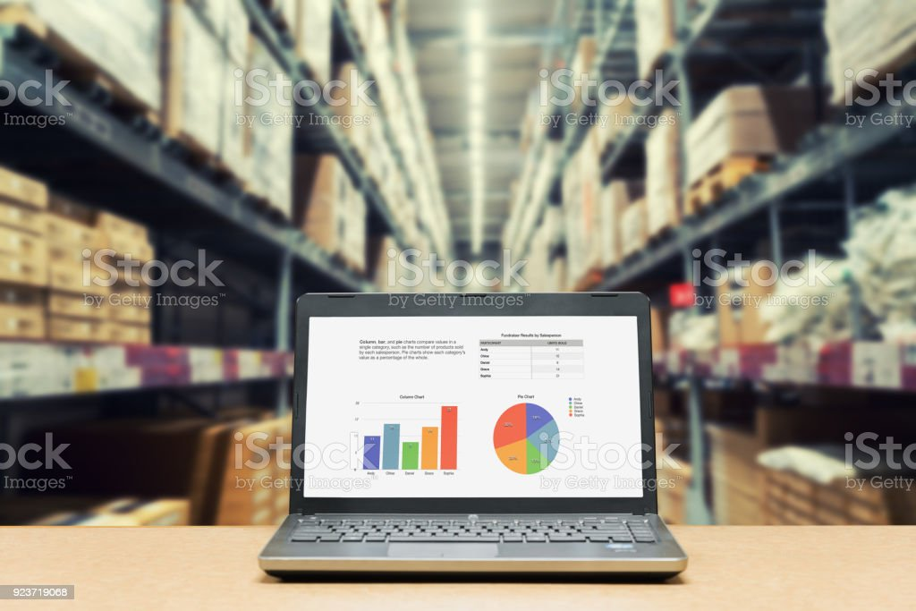 Laptop with analysis sale screen on table with blur warehouse cargo in factory. Smart factory concept. stock photo