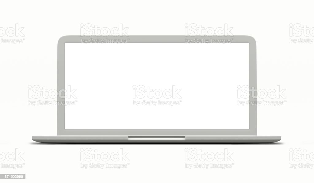 Laptop with blank screen isolated on white 3d render stock photo