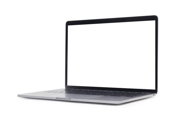 在白色背景上隔離空白螢幕並帶有裁剪路徑的筆記本電腦 - white background 個照片及圖片檔