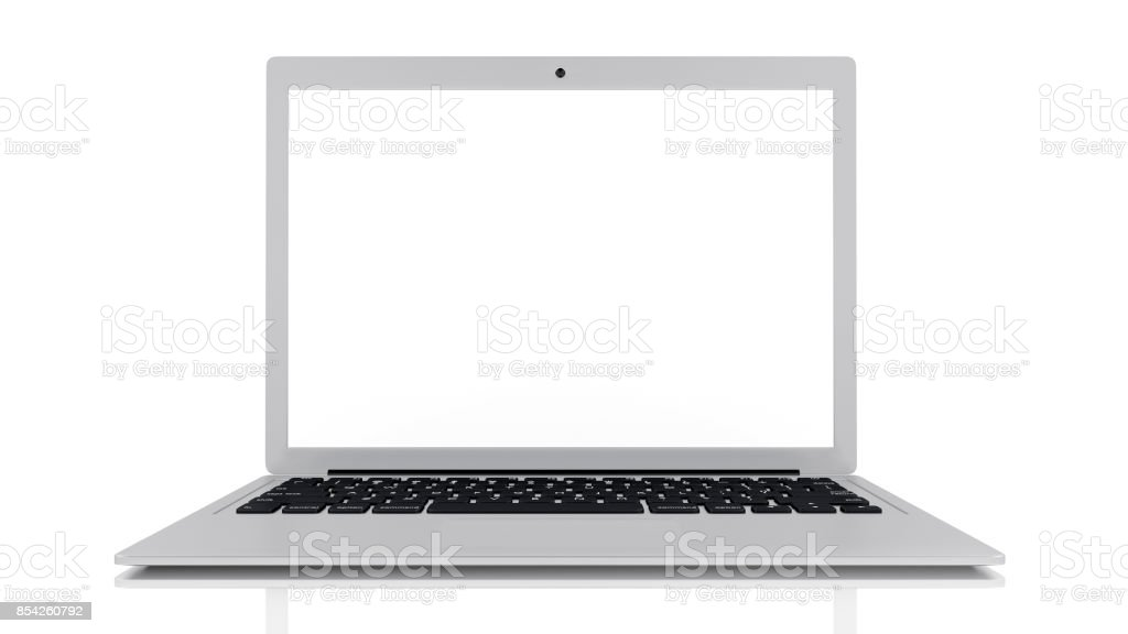 Laptop with blank screen isolated stock photo