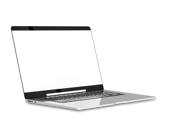 Laptop with blank screen isolated Laptop with blank screen isolated on white background with clipping path and mock-up for your text, 3d render. laptop white background stock pictures, royalty-free photos & images