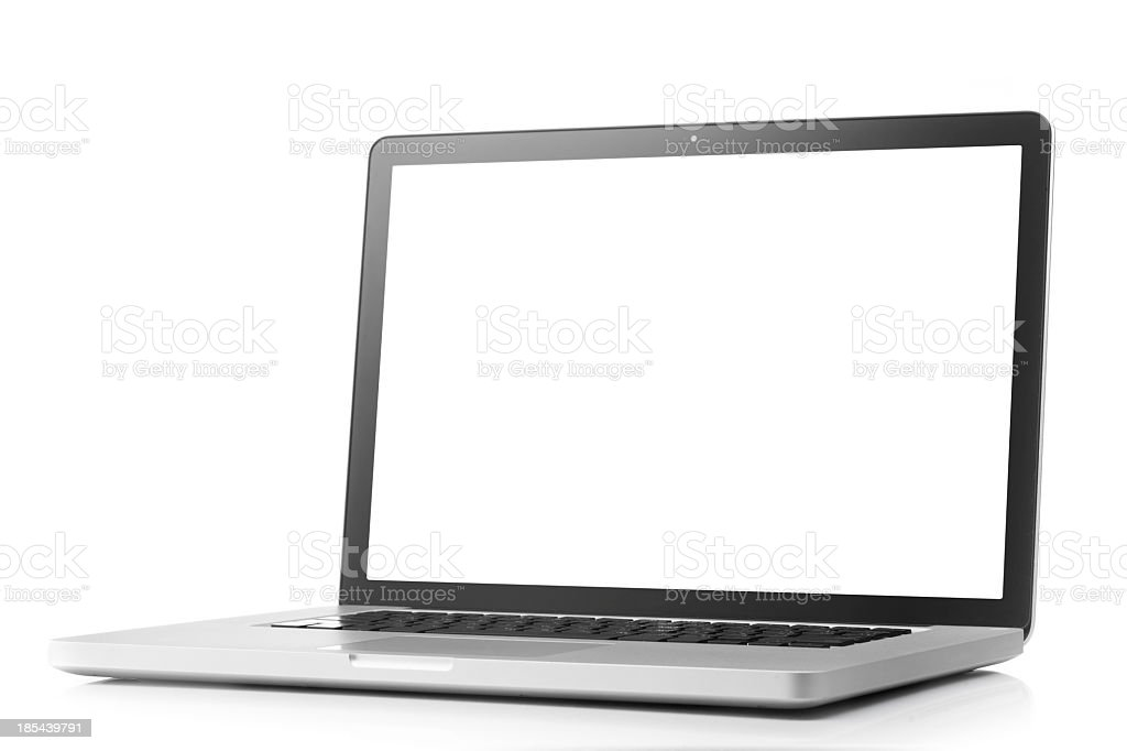 Laptop with blank screen on a white background