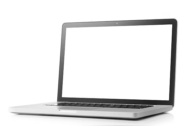 Laptop with blank screen on a white background stock photo