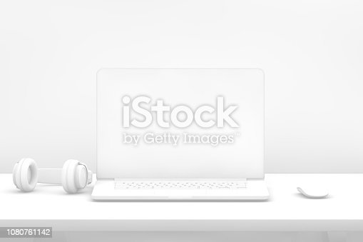 Abstract laptop with blank screen. For  advertisement, mock-up, template. 3d rendering.