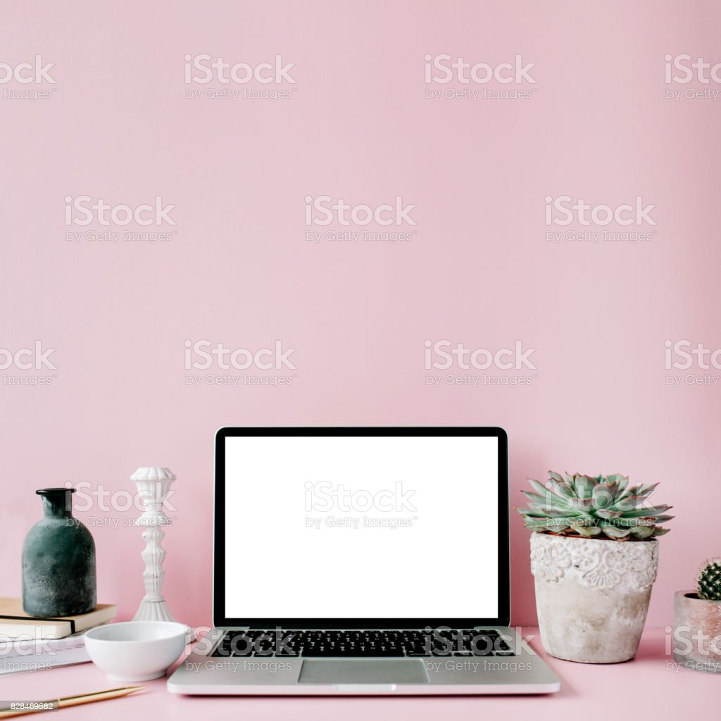 Laptop with blank screen stock photo
