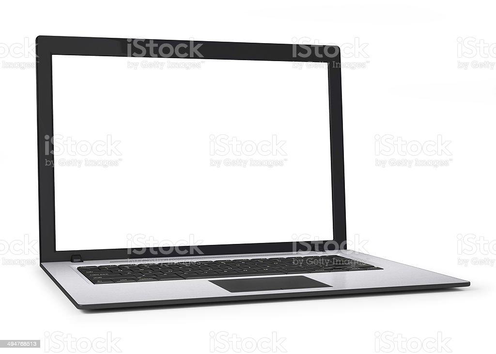 Laptop mit leeren weißen Bildschirm.  Isoliert auf weißem Hintergrund – Foto