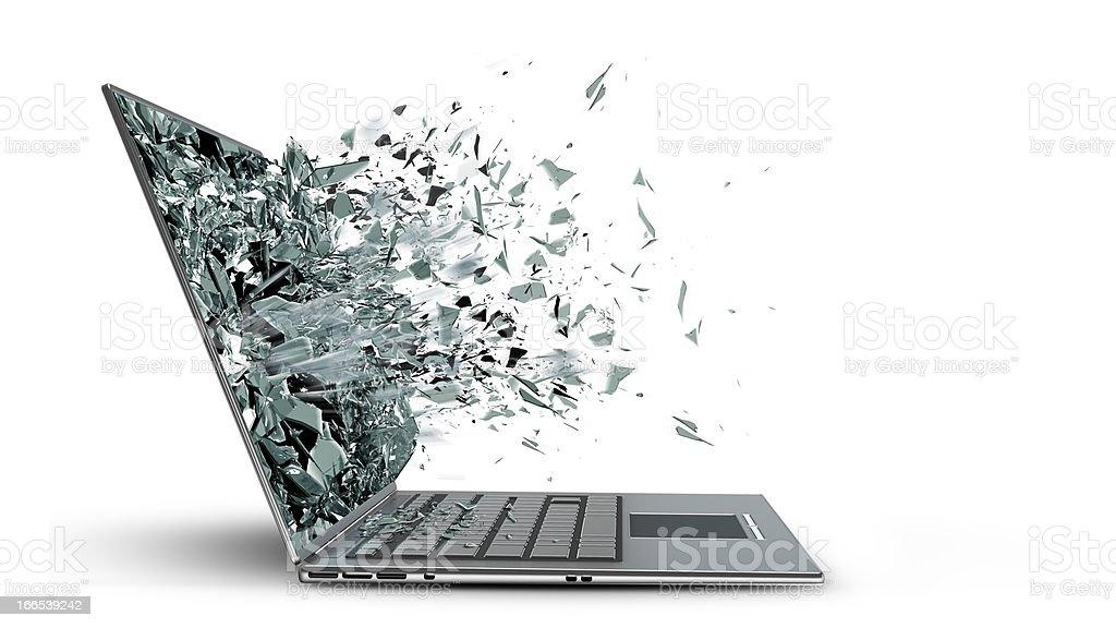 laptop with broken screen stock photo