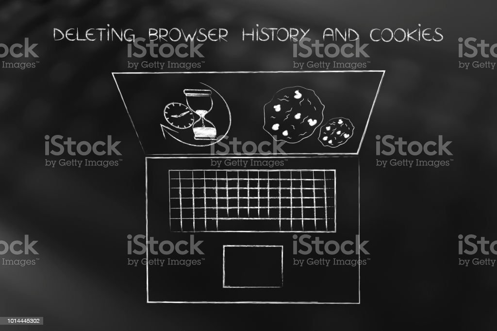 laptop with browser history hourglass and cookies to delete stock photo