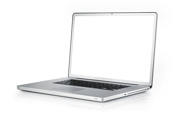 Laptop with clipping path Gray portable computer with clipping path. Side view.Very large DoF. laptop white background stock pictures, royalty-free photos & images