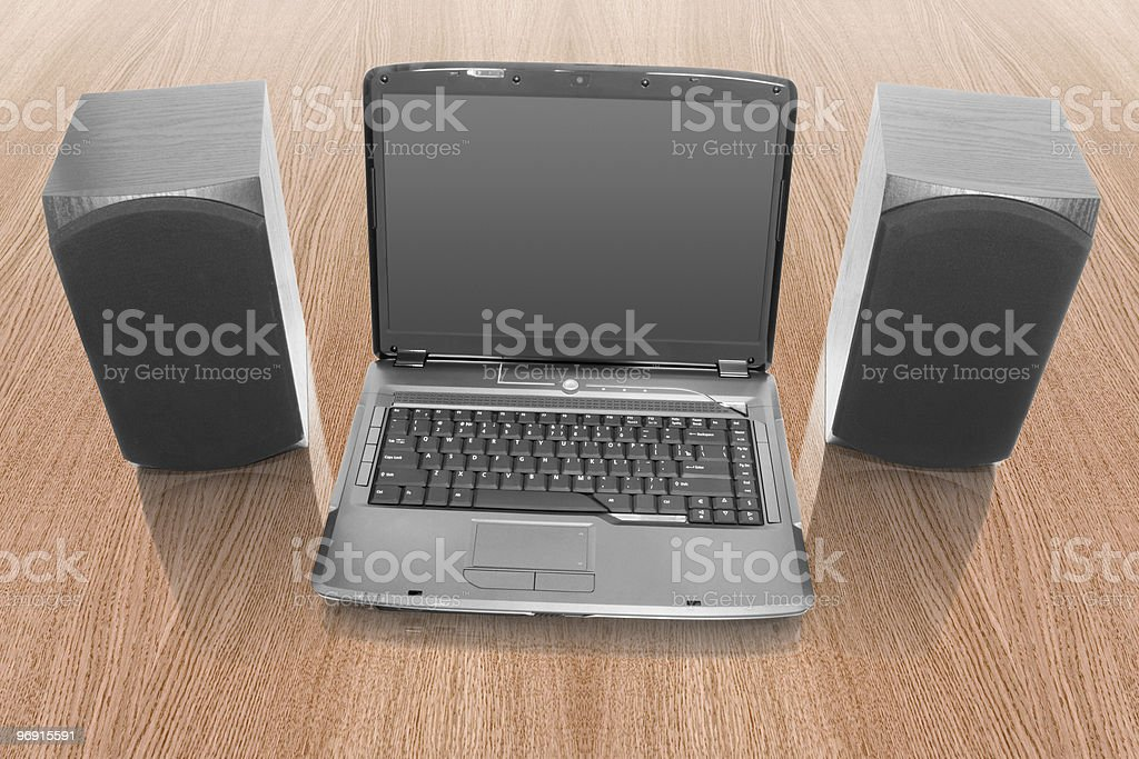 laptop with computer speakers royalty-free stock photo