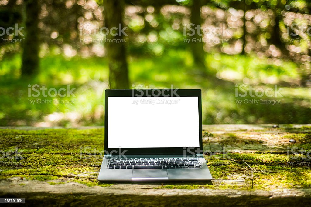 Laptop with copy space stock photo