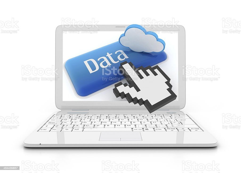 Laptop with data button royalty-free stock photo