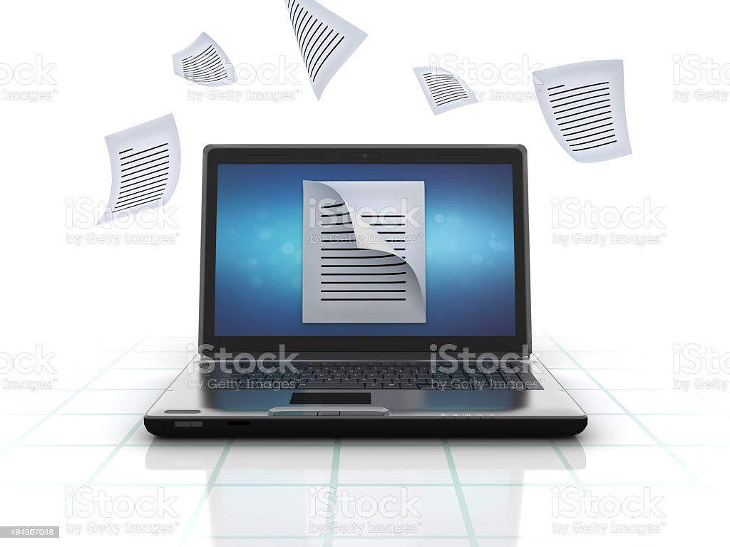 Laptop with Data Files stock photo