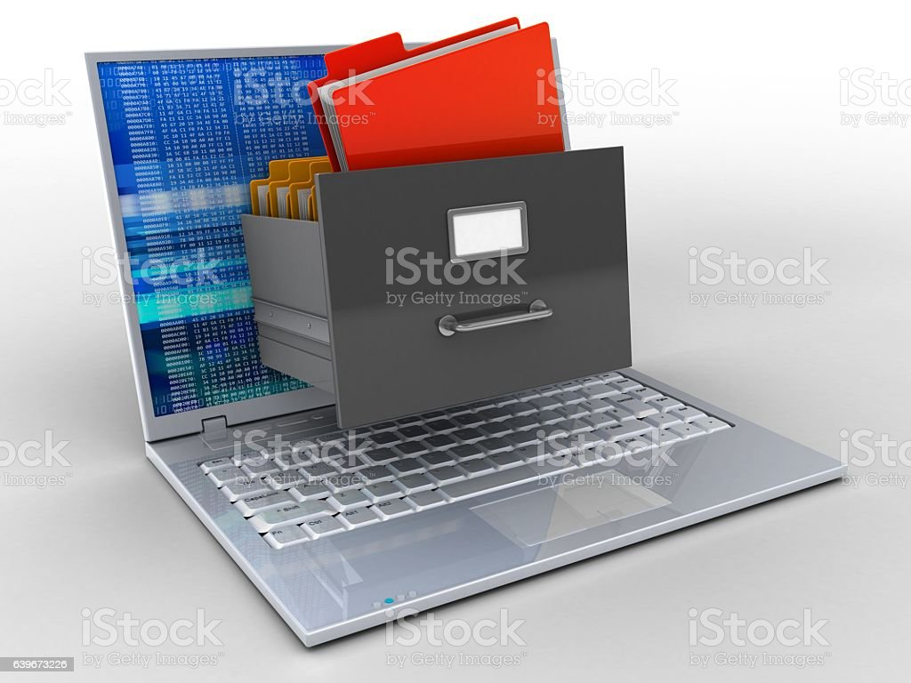 laptop with digital screen and archive - foto stock
