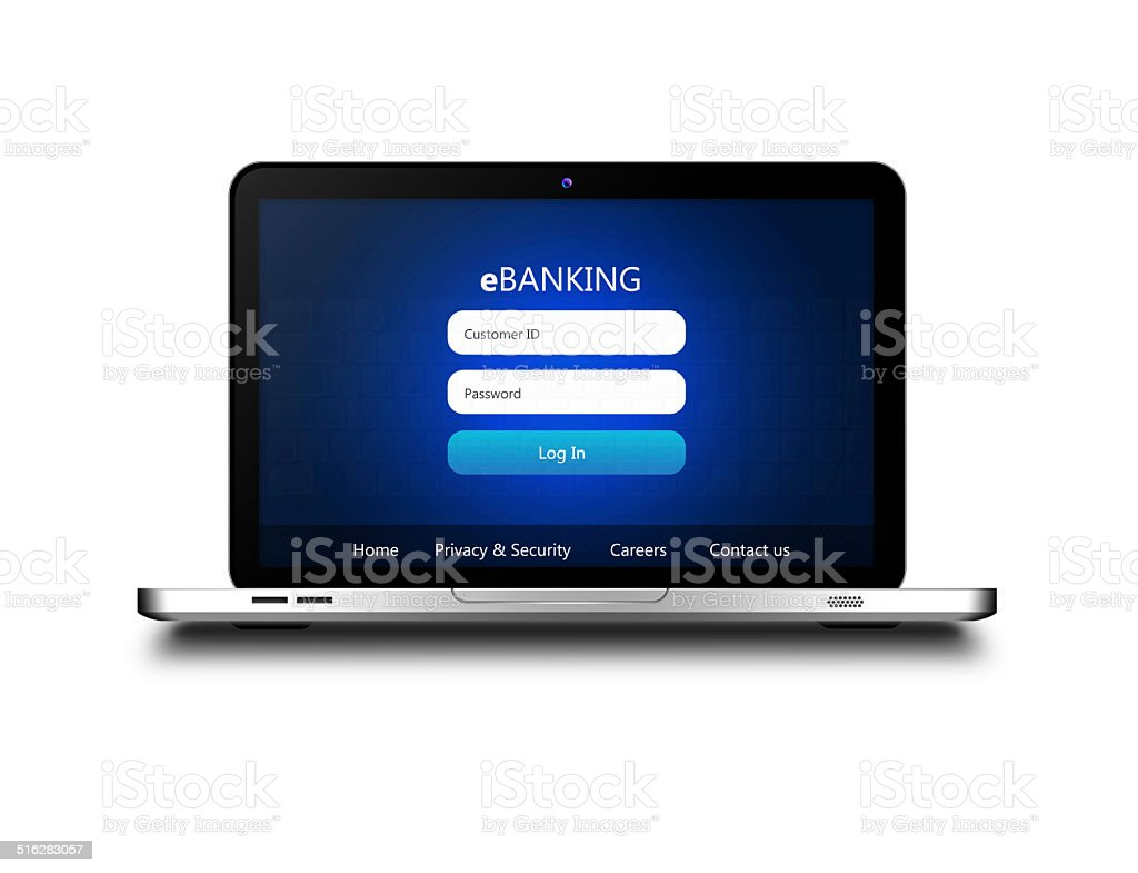 laptop with ebanking login page  isolated over white stock photo