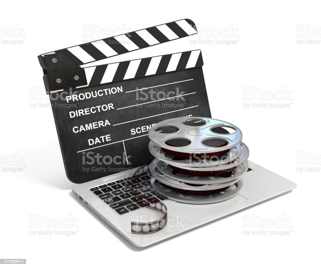 Laptop with films reel , Video or movie online internet concept stock photo