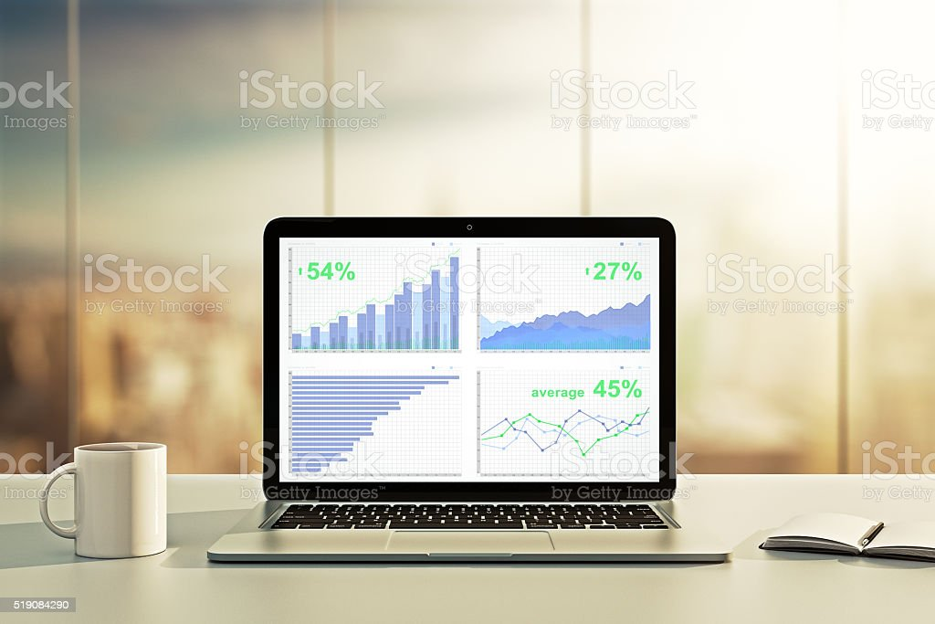 Laptop with financial statistics on a desktop