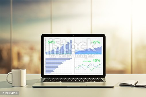 istock Laptop with financial statistics on a desktop 519084290